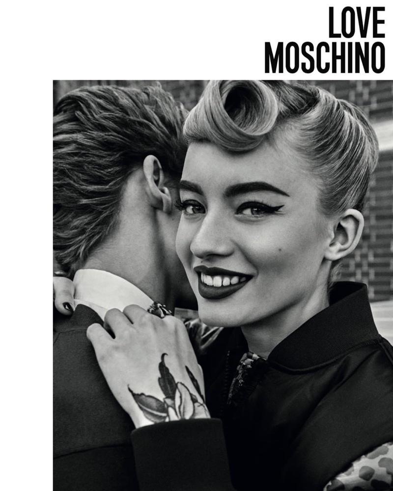 Giulia Maenza wears victory rolls in Love Moschino's fall-winter 2017 campaign