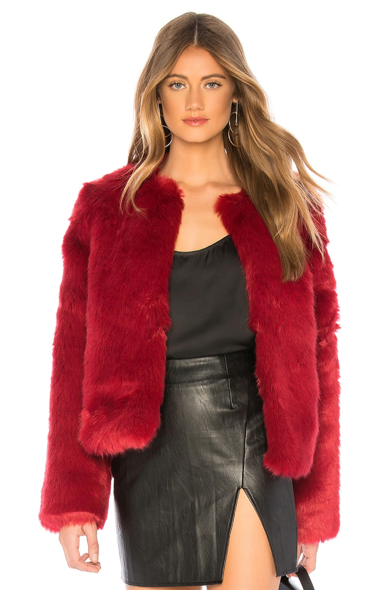 Lovers + Friends NYC Faux Fur Jacket in Cabernet $248