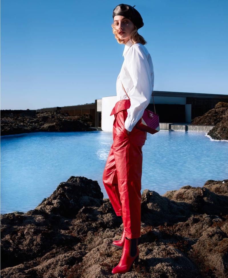 Maartje Verhoef Embraces Red & White Fashions for Harper's Bazaar