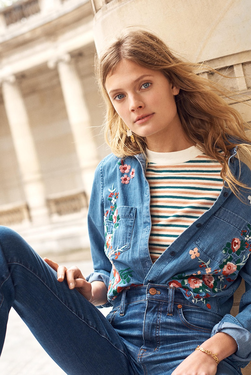Madewell Embroidered Cutoff Denim Shirt, Retro Tee in Stripe and Cali Demi-Boot Jeans: Raw-Hem Edition