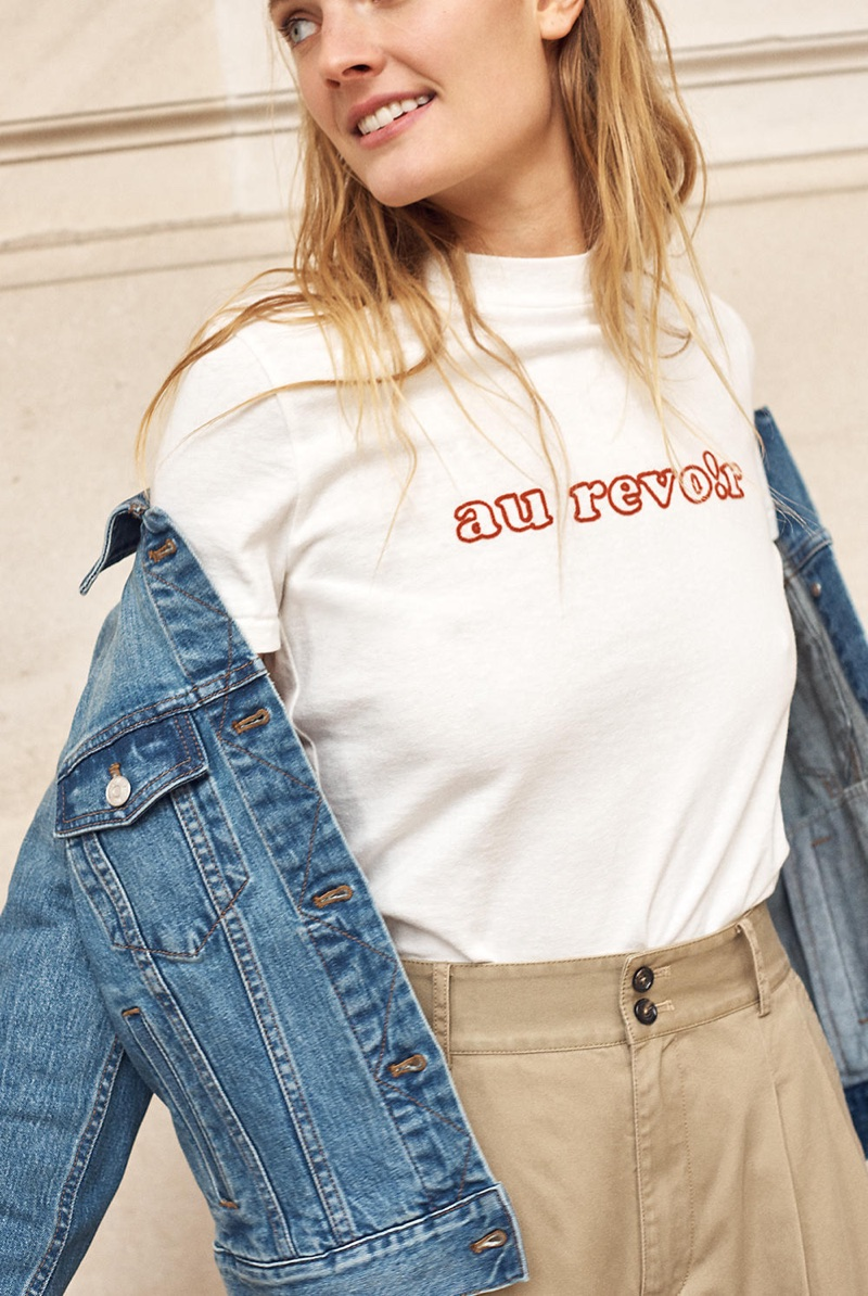 Madewell Embroidered Au Revoir Retro Tee and Khaki Wide-Leg Pants