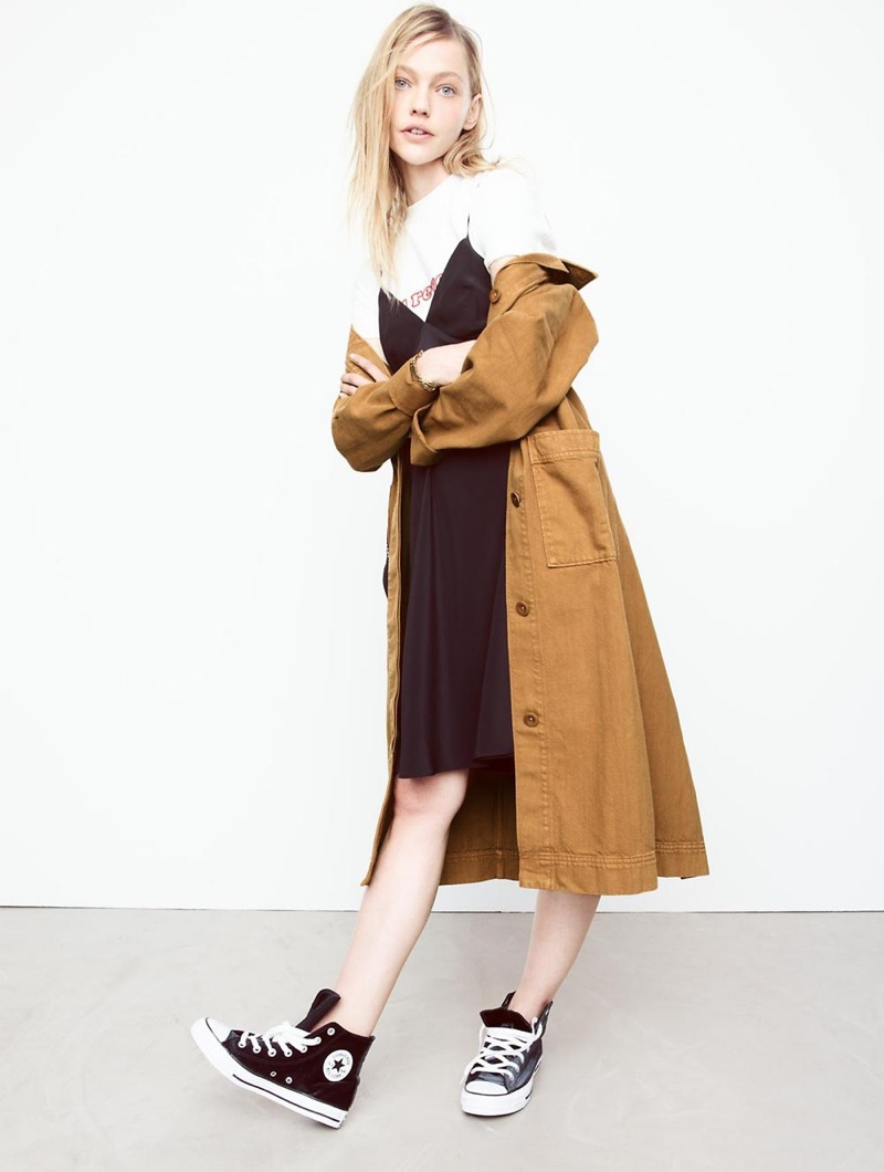 Madewell Denim Duster Coat: Garment-Dyed Edition, Silk Tie-Back Slip Dress, Embroidered Au Revoir Retro Tee and Converse Chuck Taylor All Star High-Top Sneakers in Velvet