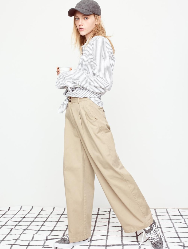 Madewell Bristol Button-Down Shirt in Stripe, Khaki Wide-Leg Pants, Wool-Blend Baseball Cap and Vans Sk8-Hi High-Top Sneakers in Marled Fabric