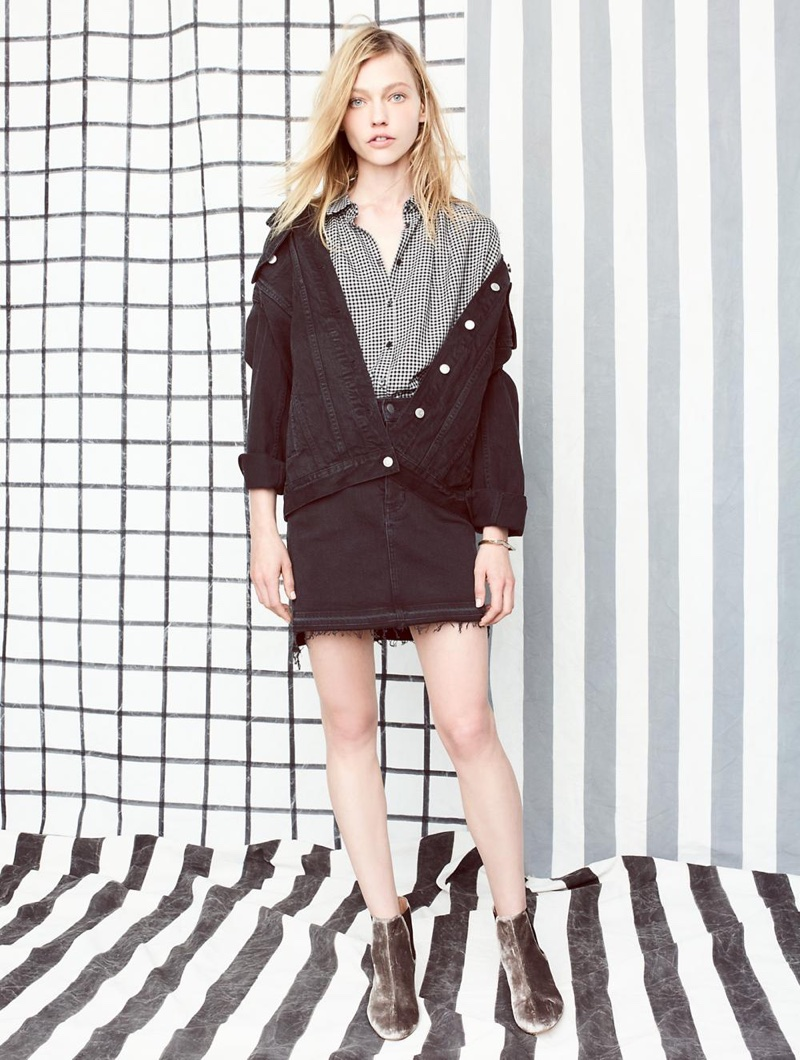Madewell The Oversized Jean Jacket in Marvin Wash, Central Shirt in Haden Plaid, Step-Hem Jean Skirt in Washed Black and The Walker Chelsea Boot in Velvet