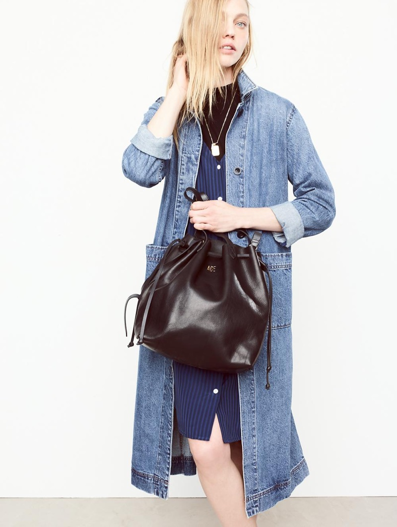 Madewell Denim Duster Coat, Autumn Dress in Stripe, Mockneck Tee, Treasure Pendant Necklace Set and The Medium Drawstring Transport Tote