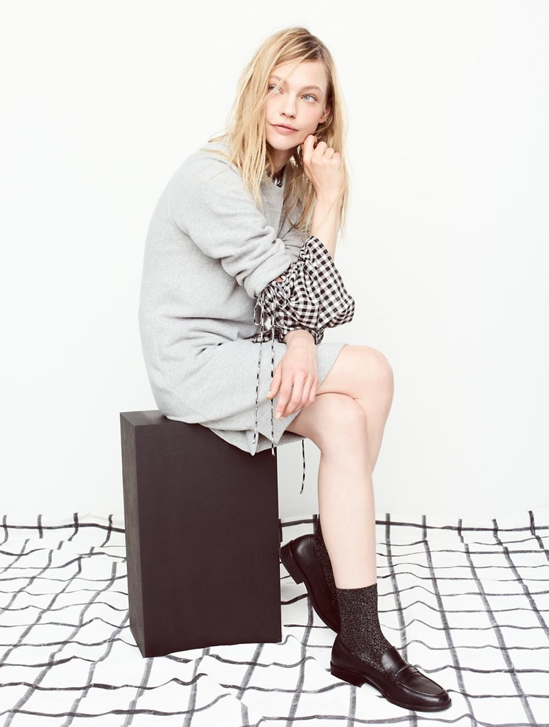 Madewell Sweatshirt Dress, Gingham Lace-Up Bell-Sleeve Top and The Elinor Loafer in Leather