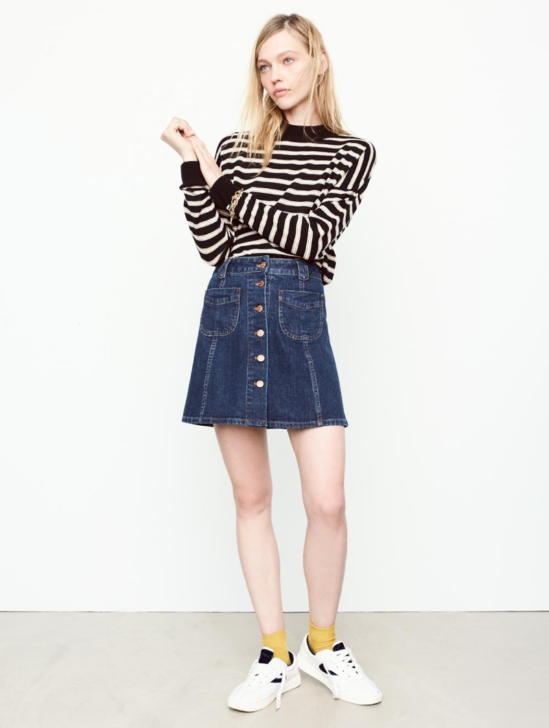 Madewell Mockneck Boxy Pullover Sweater in Stripe, Patch-Pocket Jean Skirt and Tretorn Nylite Plus Sneakers in Leather and Velvet