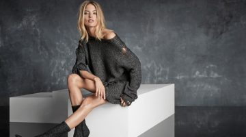 Martha Hunt wears sock bootie in Marc Fisher's fall-winter 2017 campaign