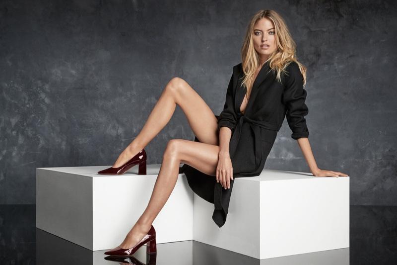 Martha Hunt models block-heel pumps in Marc Fisher's fall-winter 2017 campaign