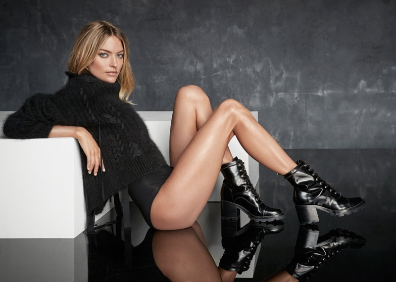 Martha Hunt wears leather platform boots from Marc Fisher's fall 2017 collection