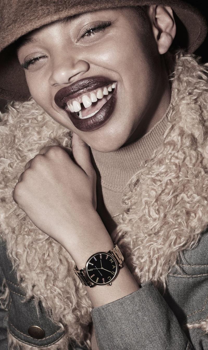 Slick Woods models Roxy Glitz Rainbow watch in Marc Jacobs' fall-winter 2017 campaign