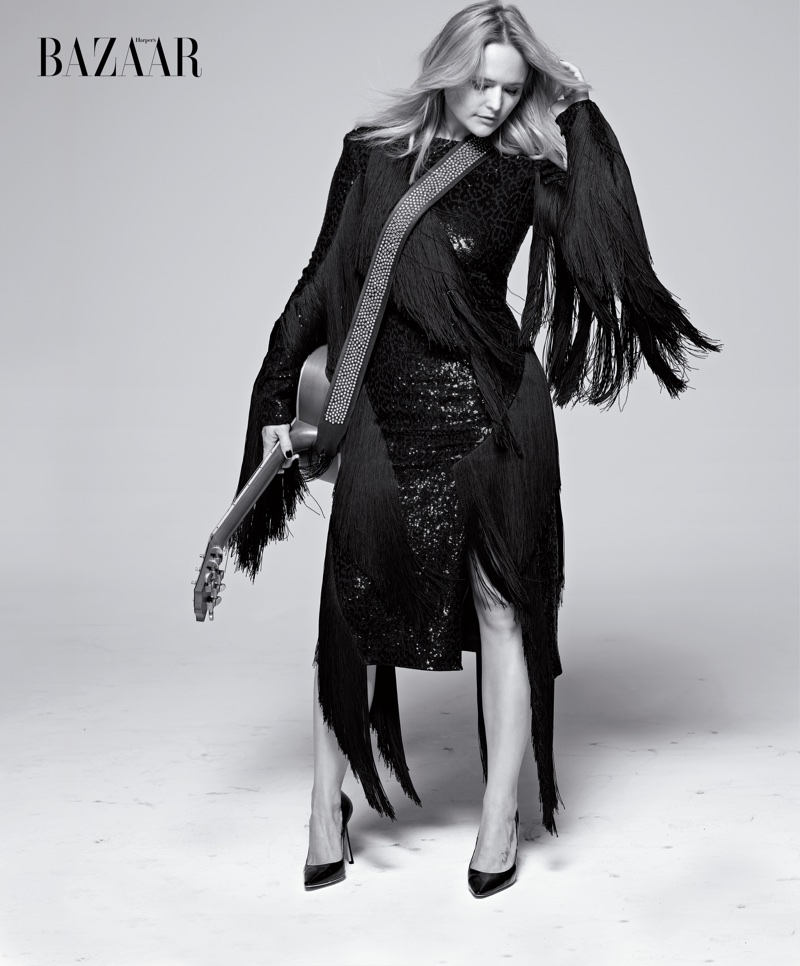 Miranda Lambert strikes a pose in fringed Michael Kors Collection dress and Jimmy Choo heels