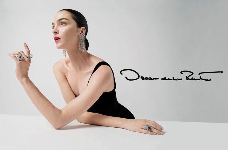 Mariacarla Boscono poses in black dress and sparkling jewelry in Oscar de la Renta's fall-winter 2017 campaign