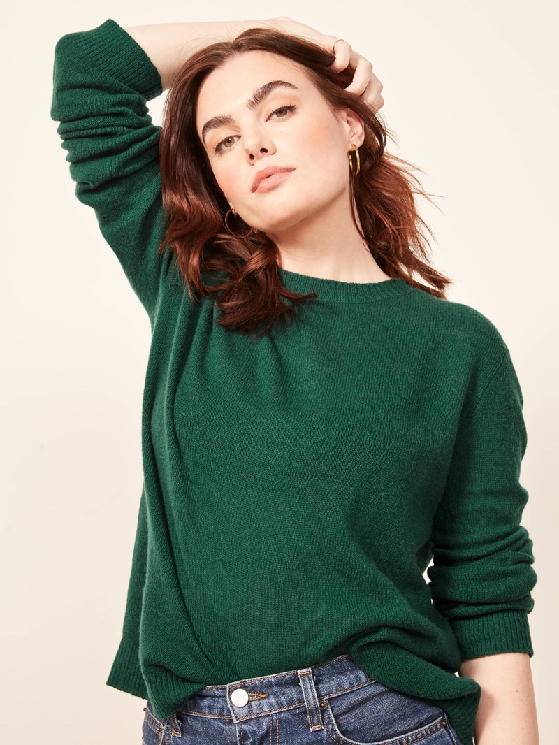 Reformation Cashmere Boxy Sweater in Spruce $148