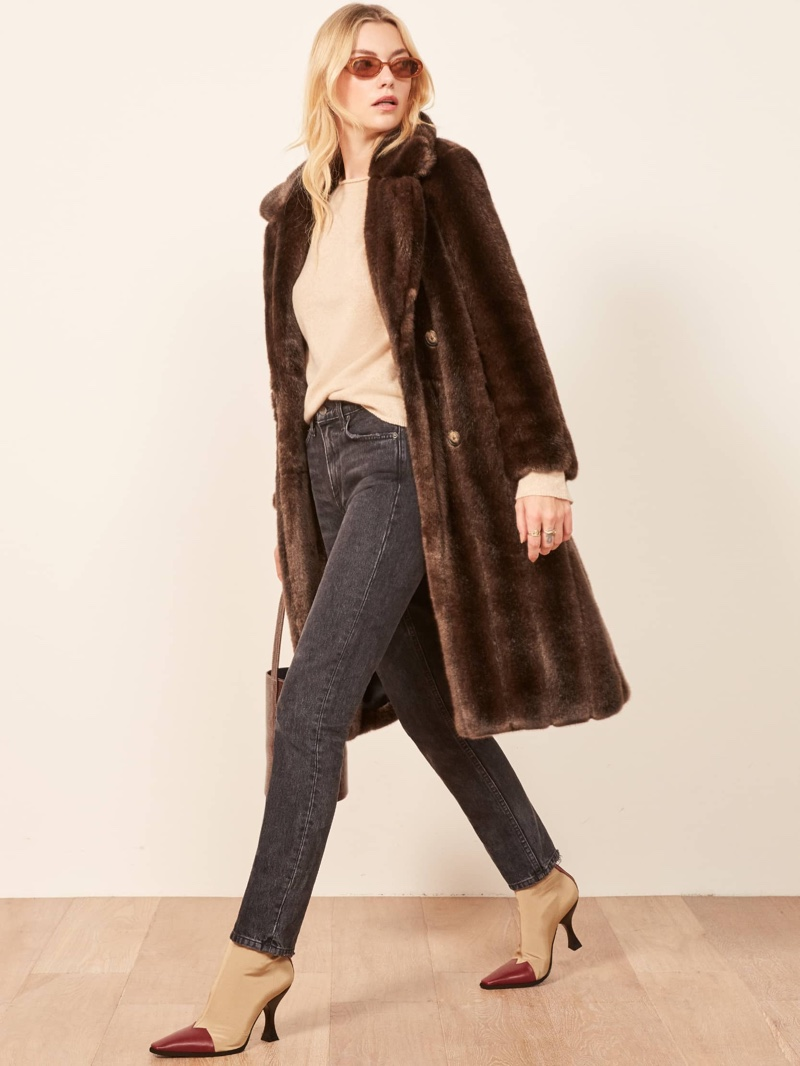 Reformation Hank Faux Fur Coat in Brown $348
