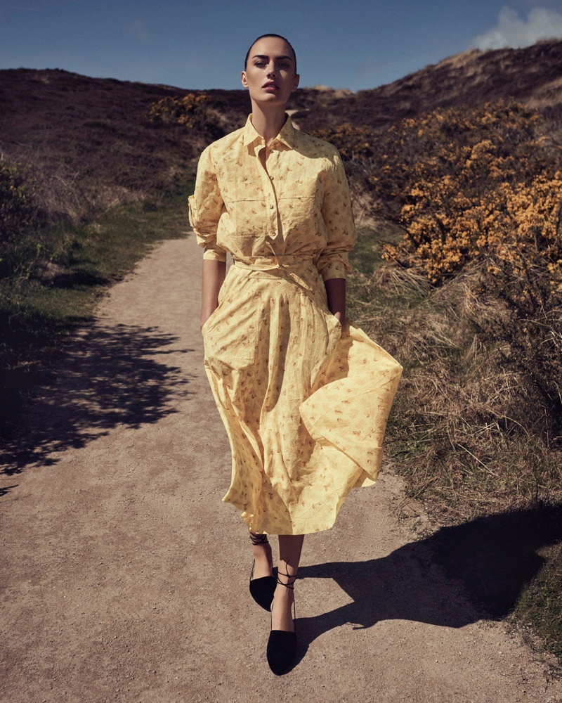 5124392a9175 Ronja Furrer Poses Outdoors in Summer Dresses for Harper s Bazaar Czech