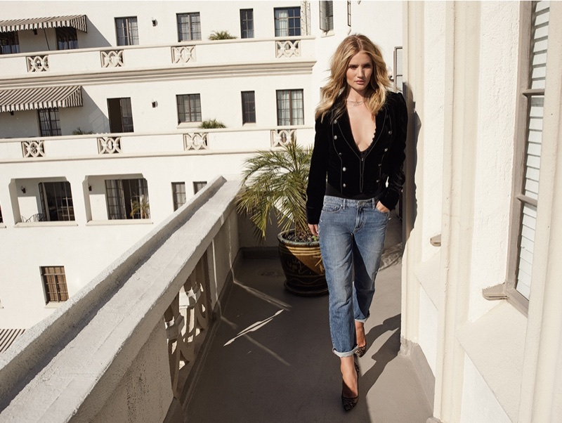 Model Rosie Huntington-Whiteley wears bodysuit, jacket and jeans in Paige Denim's fall-winter 2017 campaign