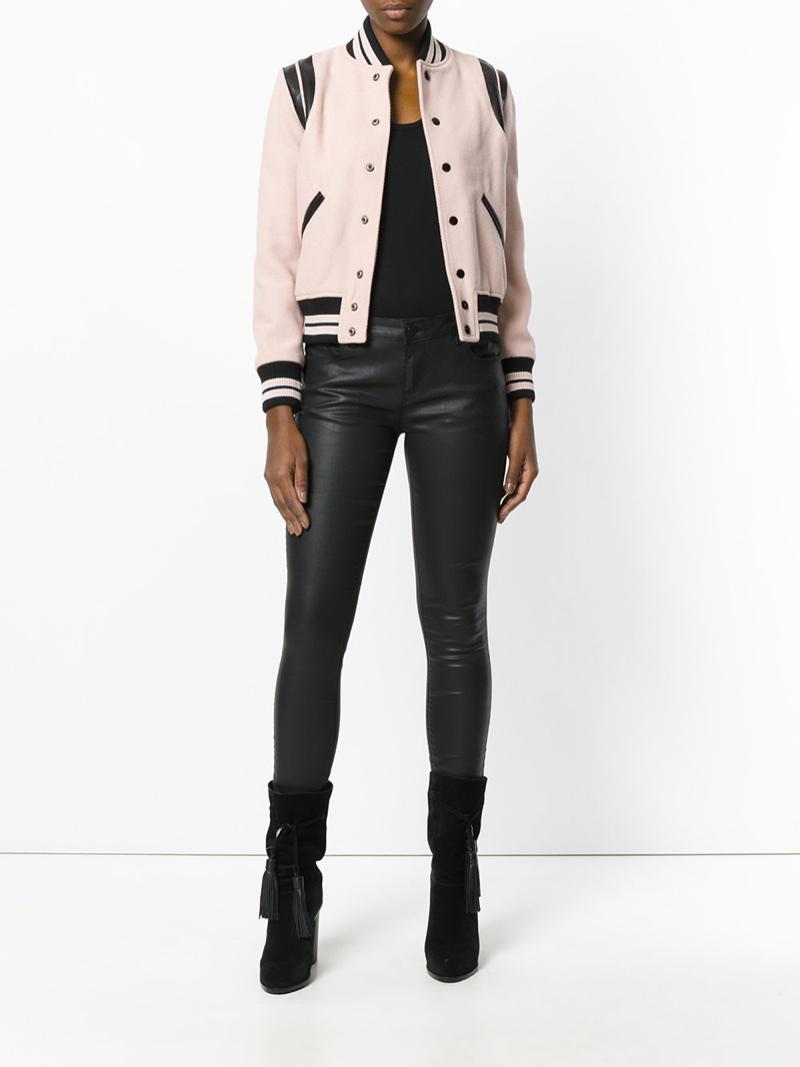 Saint Laurent Classic Teddy Jacket in Pink $2,550