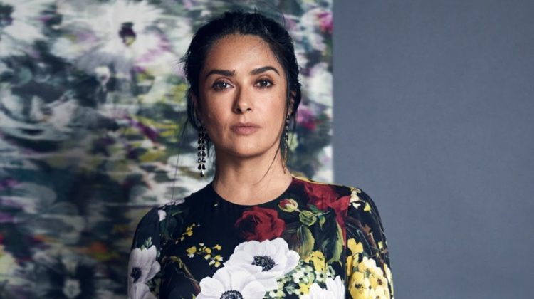 Actress Salma Hayek wears Dolce & Gabbana floral print dress