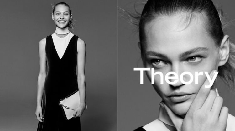 Sasha Pivovarova stars in Theory's fall-winter 2017 campaign