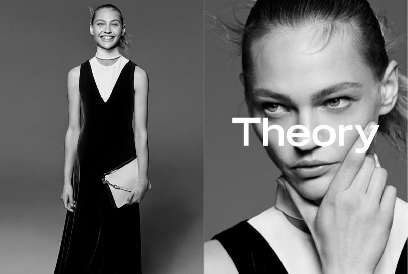 Sasha Pivovarova stars in Theory's fall-winter 2017 campaign