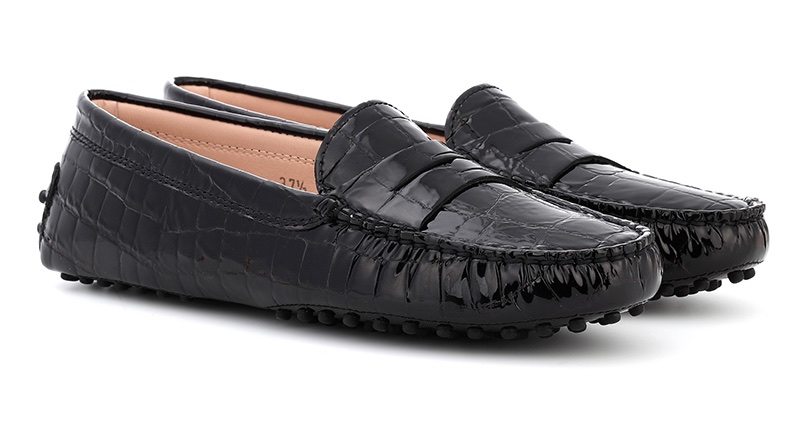 Tod's Gommino Patent Leather Loafers in Black $425