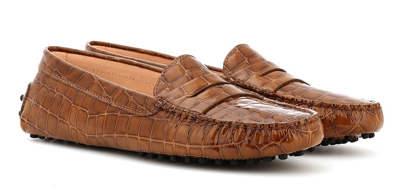 Tod's Gommino Patent Leather Loafers in Brown $425
