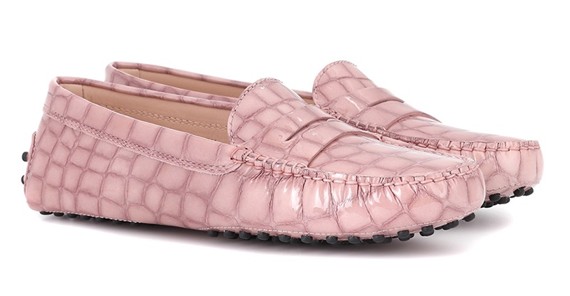 Tod's Gommino Patent Leather Loafers in Pink $425