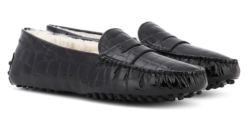 Tod's Gommino Patent Leather Shearling Lined Loafers $595