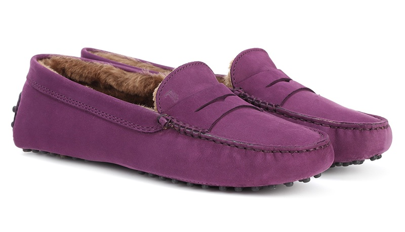Tod's Gommino Suede Loafers in Purple $595
