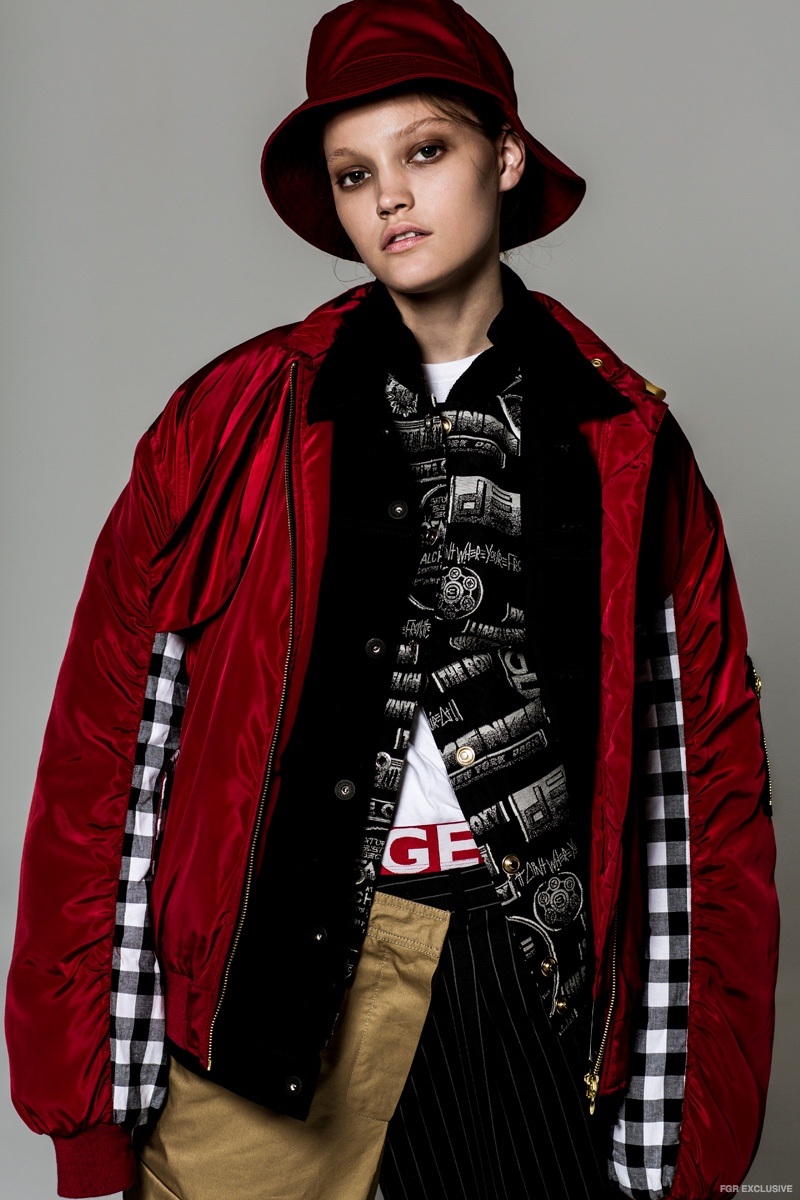 Hat Nautica, Red Jacket (on top) House of Holland, Black and White Jacket Kenzo, Black Denim Jacket Levi's, Pants Monse, Shoes Nike, Underwear Tommy Hilfiger and Tee Hanes