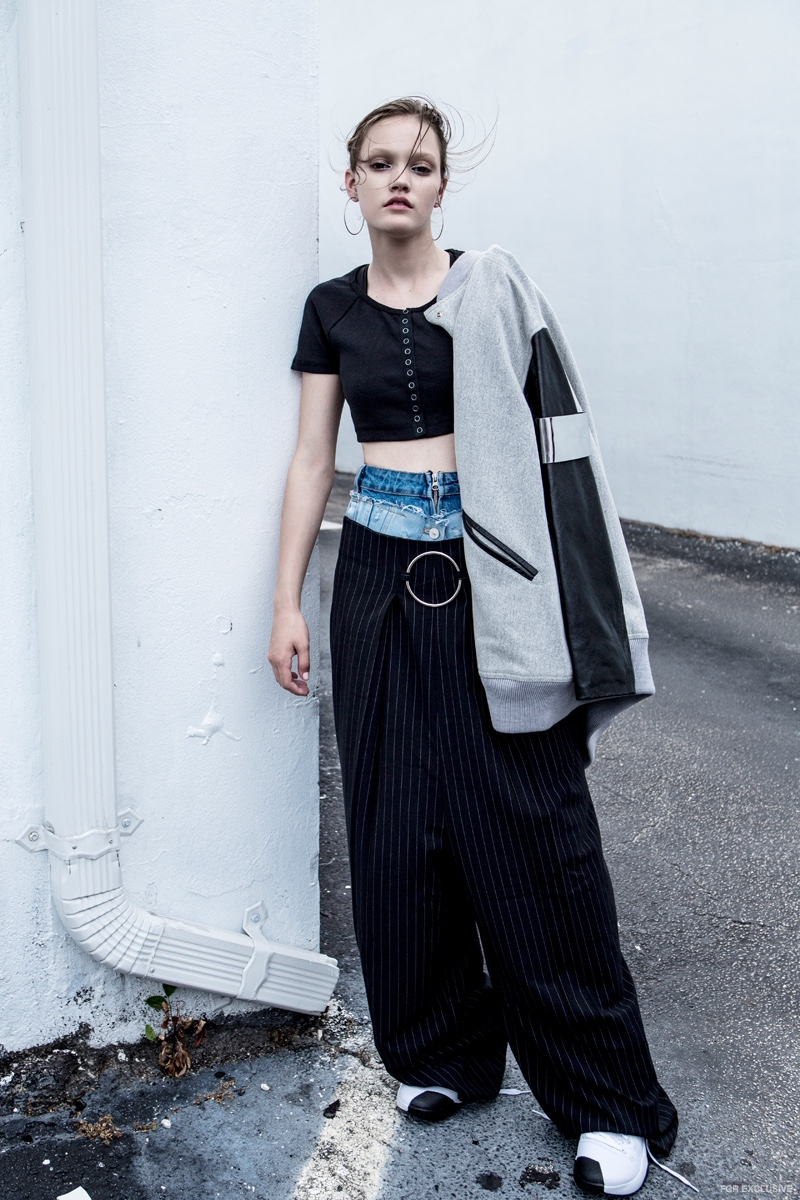 Denim Skirt (worn under pants) Zara, Pants Style Mafia, Top Silence & Noise, Jacket Maison Margiela and Hoops stylist's own