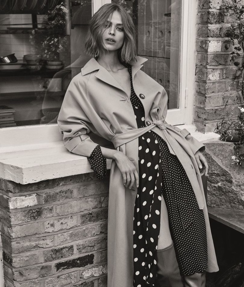Birgit Kos wears a trench coat in Topshop's fall 2017 campaign