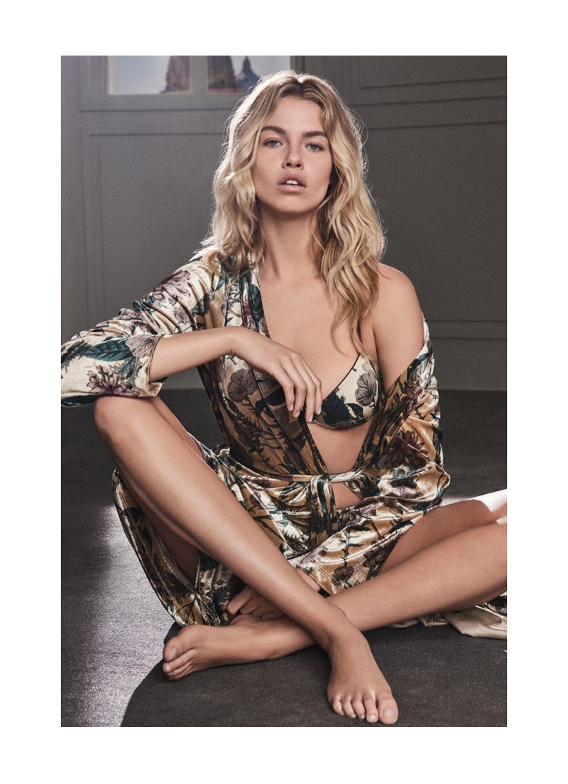 Hailey Clauson models velvet robe with bra from Twinset Underwear's fall-winter 2017 collection