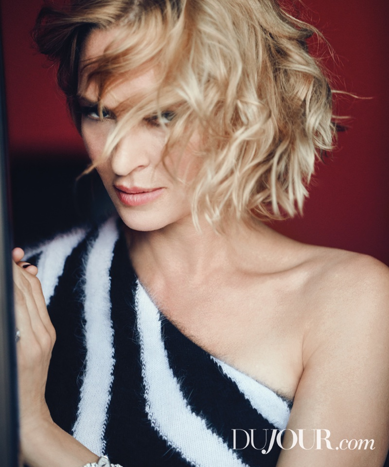 Uma Thurman Shows Off Chic Looks in DuJour Magazine