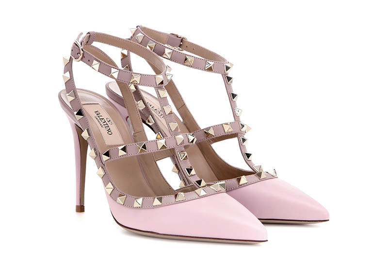 Valentino Rockstud Leather Pumps in Pink $995