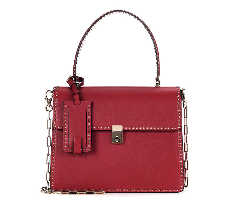 Valentino Rockstud Leather Tote in Red $2,995