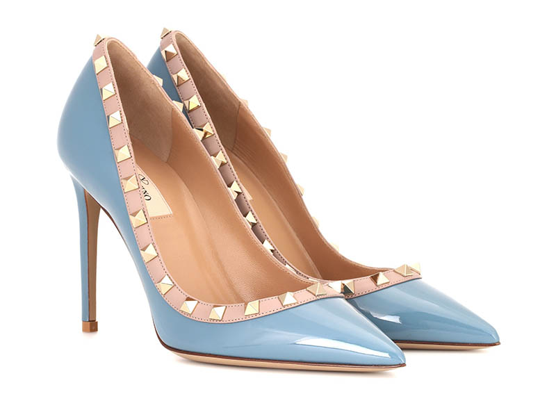 Valentino Rockstud Patent Leather Pumps in Sky Blue $825