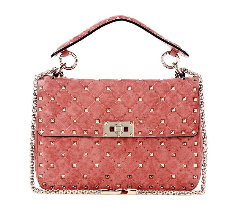 Valentino Rockstud Spike Suede Shoulder Bag in Rose $2,795