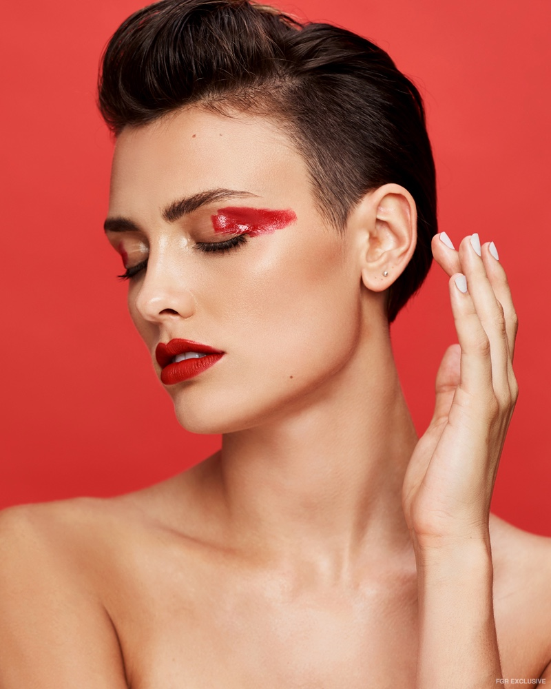 Christopher Shintani captures a graphic, red eyeliner look