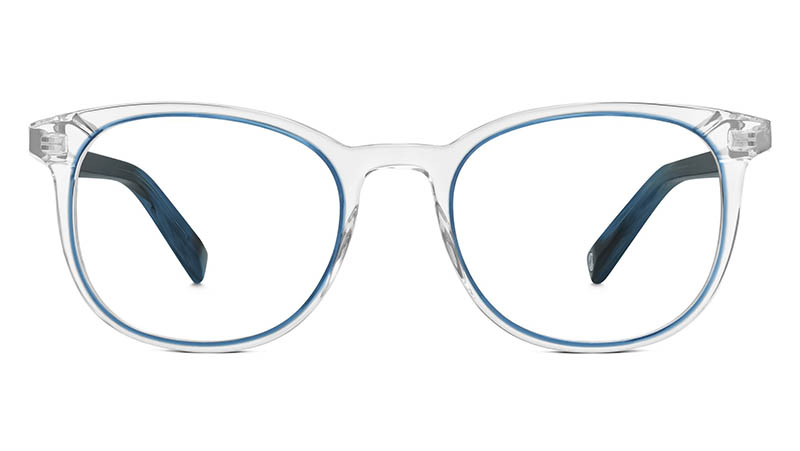 Warby Parker Durand Glasses in Crystal and Blue Jay $145