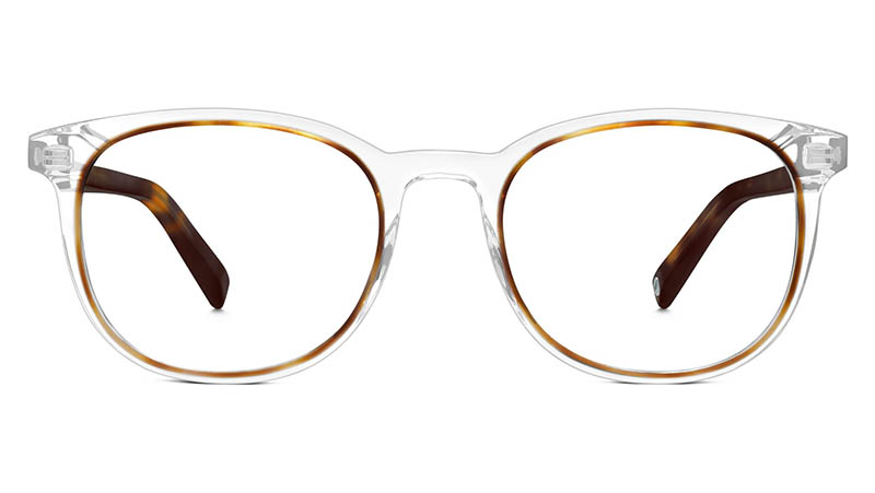 Warby Parker Durand Glasses in Crystal and Oak Barrel $145