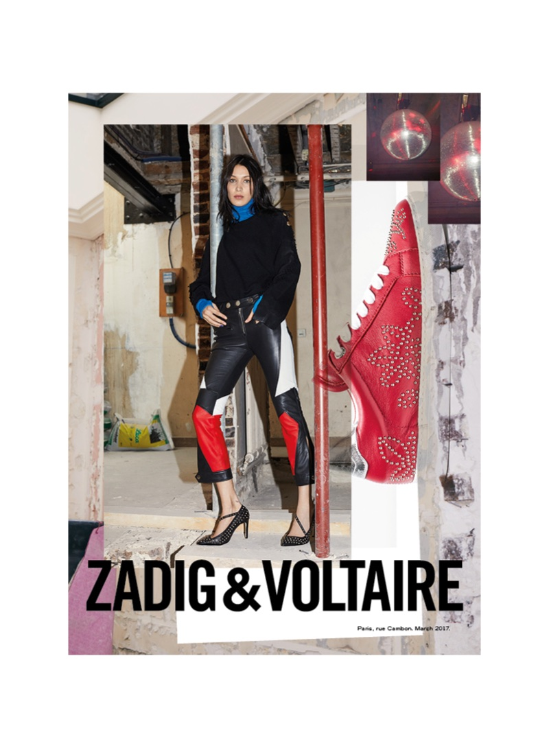 Model Bella Hadid wears leather in Zadig & Voltaire's fall-winter 2017 campaign