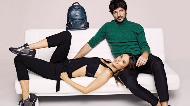 Models Alessandra Ambrosio and Andrés Velencoso pose for XTI Shoes' fall-winter 2017 campaign