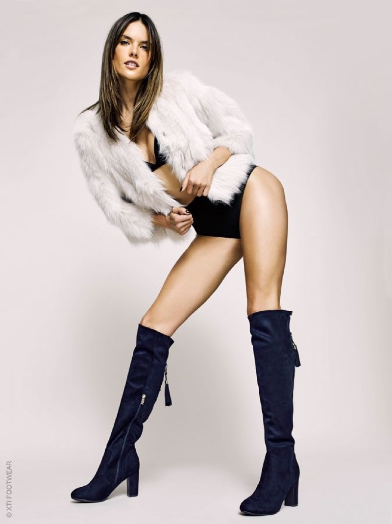 Flaunting her legs, Alessandra Ambrosio wears knee-high boots in XTI Shoes' fall-winter 2017 campaign