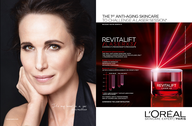 Andie MacDowell for L'Oreal Paris