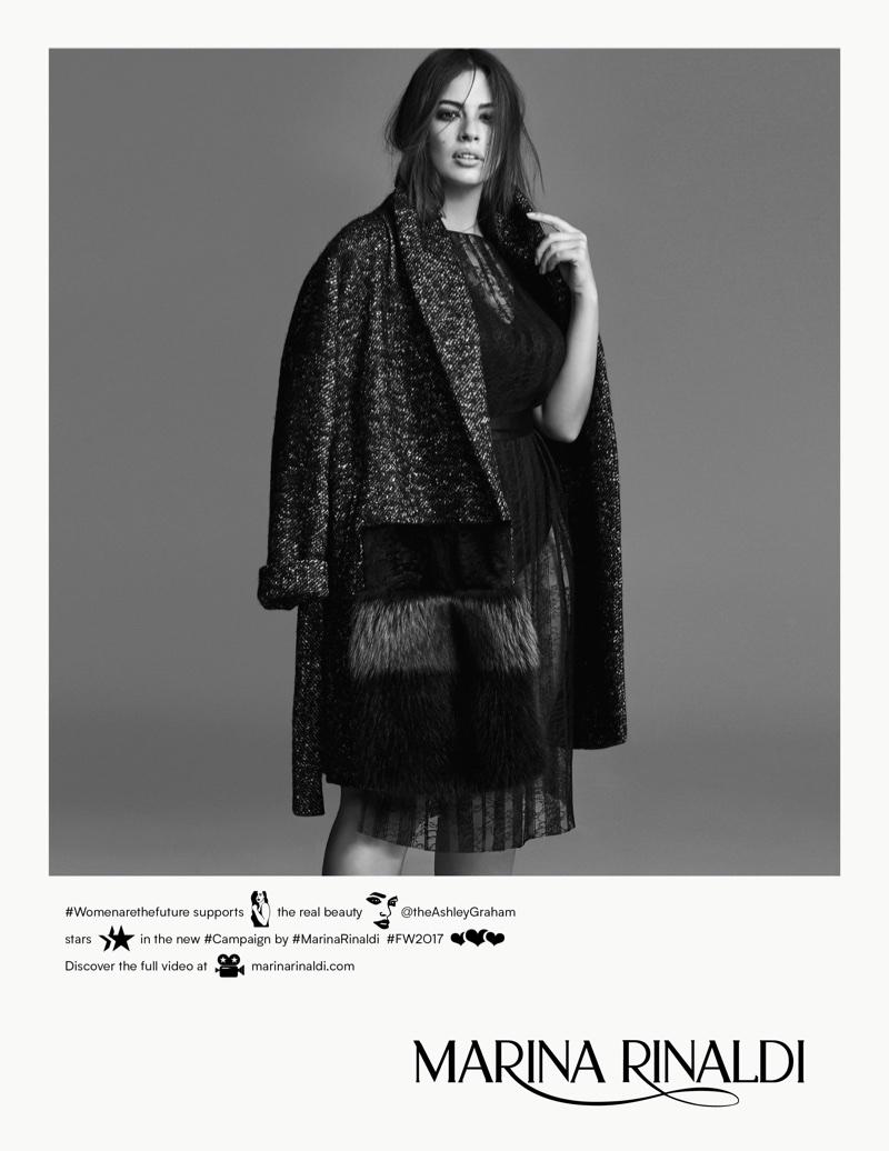 Ashley Graham poses in tweed jacket for Marina Rinaldi's fall-winter 2017 campaign