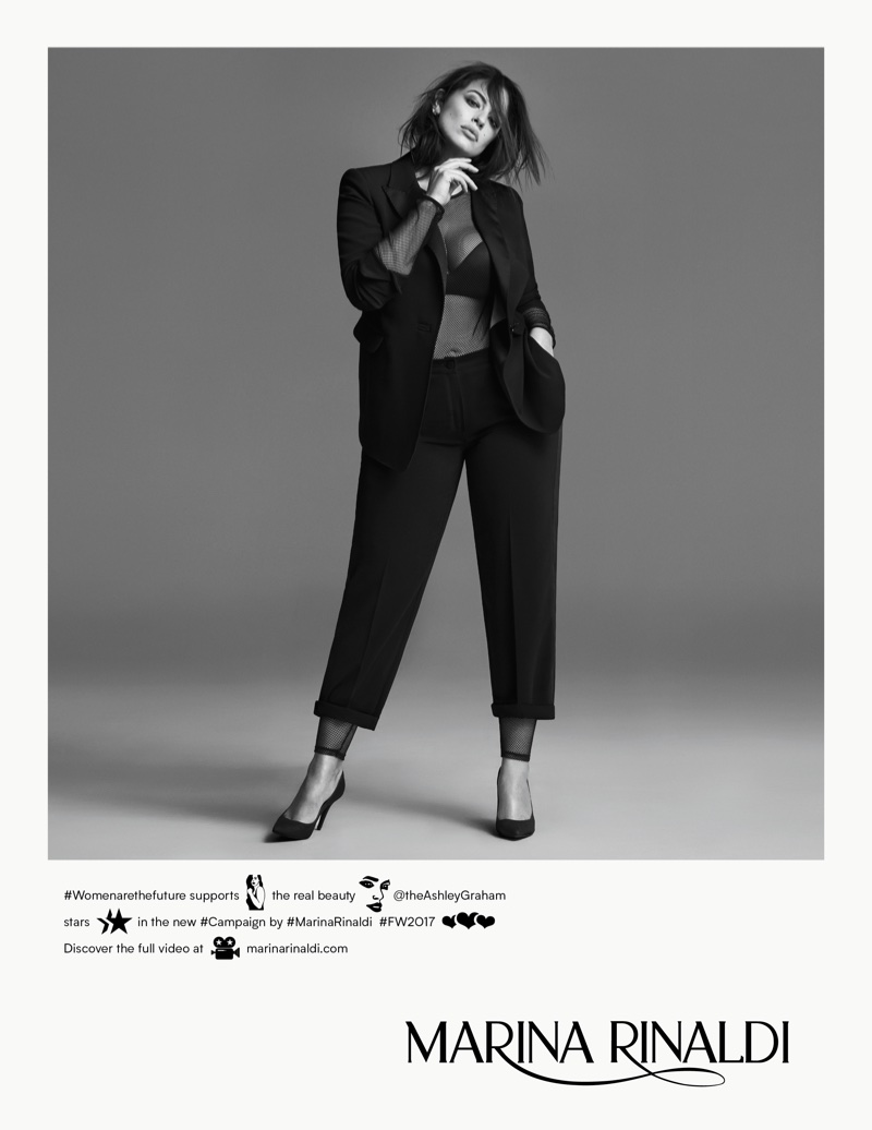 Model Ashley Graham suits up in Marina Rinaldi's fall-winter 2017 campaign