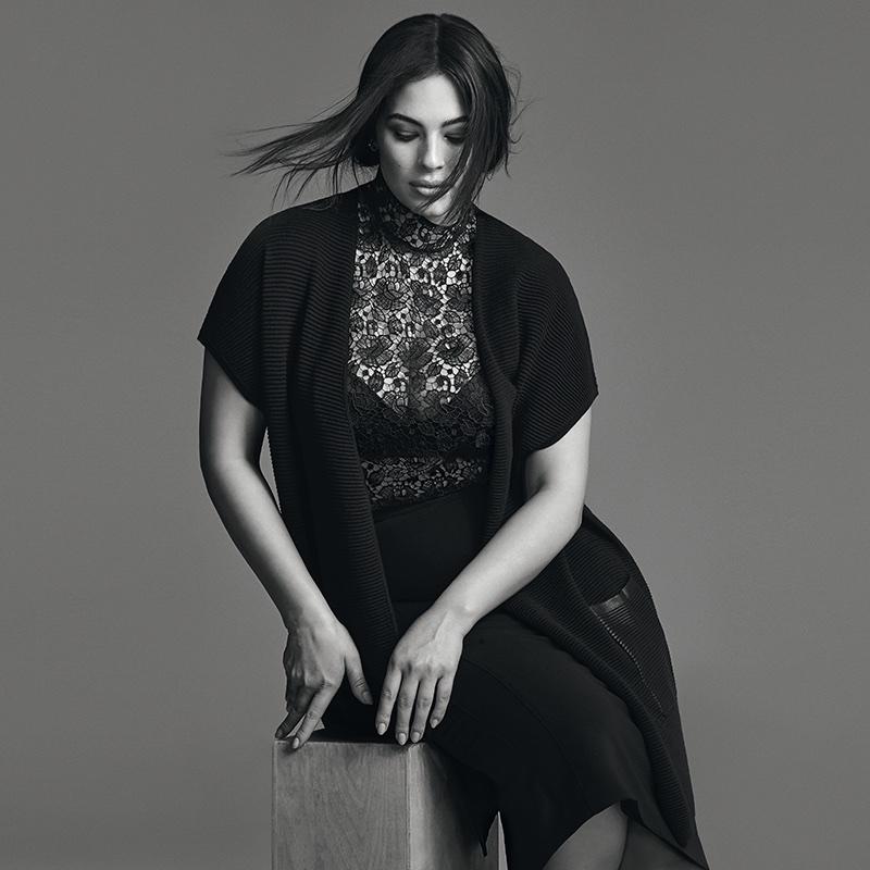Ashley Graham wears lace in Marina Rinaldi's fall-winter 2017 campaign