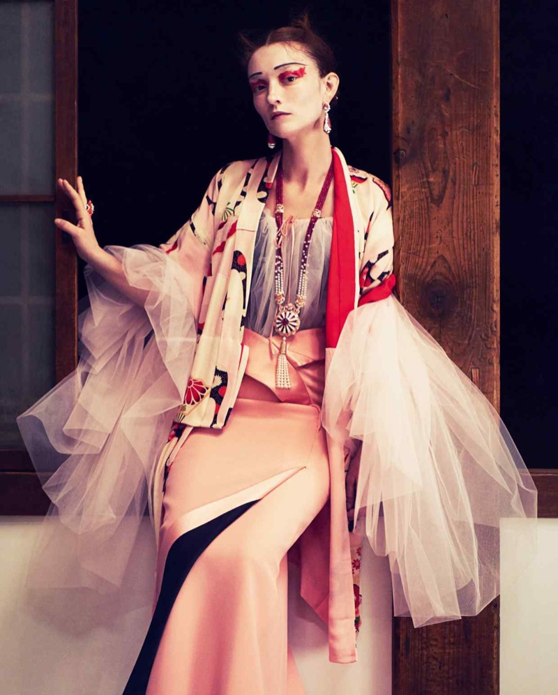 Audrey Marnay Poses in Japanese Inspired Gowns for How to Spend It